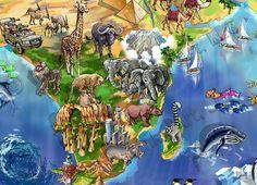 World Map Illustration detail: Africa by Maria Rabinky Birds Eye View Map, Illustrated Maps, World Map Art, Cityscape Art, Map Design, Custom Map, Illustration Art, Africa, Detail