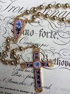 Vintage micro mosaic crucifix rosary part by thejunkdiva on Etsy, $45.00