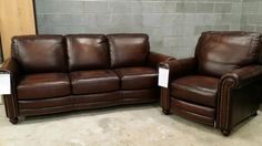 Nothing says sophistication and class like a simple high-quality leather sofa and matching chair!  These pieces will incorporate beautifully into almost any exiting décor scheme and will really bring the WOW factor to your space! These pieces are however, one of the market samples we currently have at Gallery Furniture that are guaranteed to go fast. Come get yours TODAY before they're gone forever! | Houston TX | Gallery Furniture |