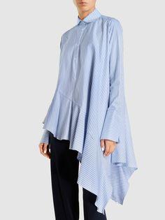Flounce Ruffled Stretch-Cotton Shirt