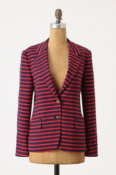 not usually a blazer girl, but really like it. stripe love. mainstay blazer at anthropologie
