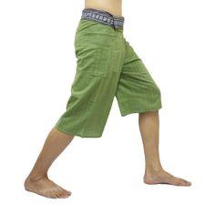 Green Thai Fisherman Pants Short 3/4 with Thai hand woven fabric on waist side, Wide Leg pants, Wrap pants, Unisex pants  $22.00 Free shipping