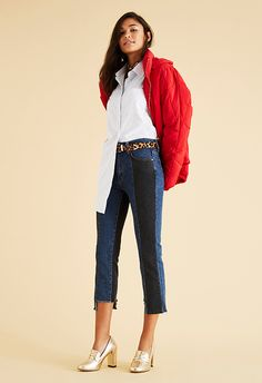 Turn up like the 80s queen you are and style your puffer with decon jeans and a half-tucked, oversized shirt. The finishing touches? A leopard-print belt, chunky chain choker and heeled gold loafers
