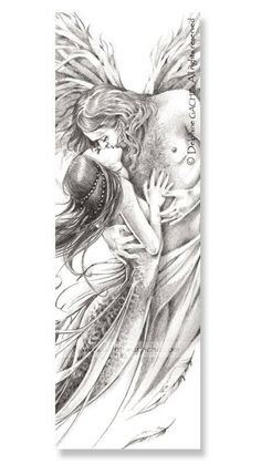 Legendya – Angel and Mermaid – # siren – … – Tattoo Ideas Angel Sketch, Angel Drawing, Illustration Fantasy, Landscape Illustration, Fantasy Couples, Angel Tattoo Designs, Ange Demon, Fairy Coloring, Angels And Demons