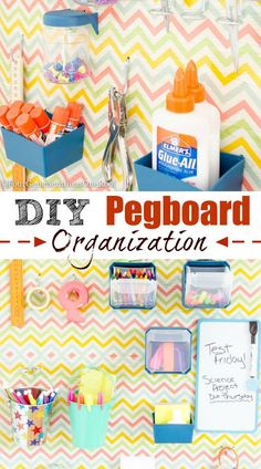 DIY pegboard organization project. Perfect for back to school, office or craft space. I love the idea of using heavy weight wrapping paper to cover the pegboard. Great idea! See full tutorial at Four Generations One Roof.
