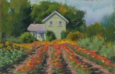"Original Pastel Landscape Painting - ""Sunflowers and Zinnias"" by Colette Savage. $225.00, via Etsy."