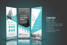 Ad: Business Roll-Up Banner by ThemeDevisers on This is Business Roll-Up Banner. So clean and Modern design for banner, roll up, x banner, stand banner, and more. Make your client Indesign Templates, Brochure Template, Banner Template, Flyer Template, Leaflet Template, Business Brochure, Business Card Logo, Banner Design, Flyer Design