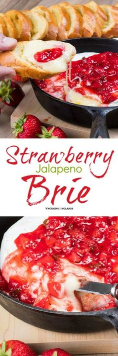 Strawberry Jalapeno Brie by Noshing With The Nolan. - Strawberry Jalapeno Brie by Noshing With The Nolands is the perfect appetizer with its rich melty brie and sweet heat. Your guests will be wowed! Yummy Appetizers, Appetizers For Party, Appetizer Recipes, Snack Recipes, Cooking Recipes, Brie Appetizer, Party Snacks, Burger Recipes, Recipes Dinner