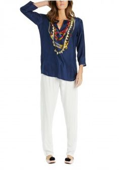 $ 350.00 IRIS TUNIC IN NAVY Hippie Chic Fashion, Kaftan, Bohemian Style, Iris, Tunic, Navy, Clothes For Women, Jackets, Collection