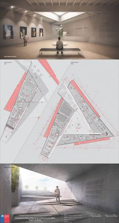 Meet the second place in the contest of the Museum of Memory and Human Rights in Concepción, Chile, Plate Image Courtesy of Team Second Place Public Architecture, Architecture Board, Architecture Drawings, Concept Architecture, Amazing Architecture, Architecture Design, Museum Plan, Planer Layout, Architecture Presentation Board