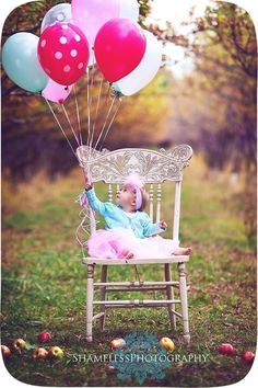 First birthday photo idea, I would order one huge balloon.