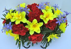 Cemetery flowers~summer daffodil Mix~headstone saddle~cemetery arrangement~grave decor~grave decorations~flowers for graves~summer cemetery flowers -- Click image for more details.