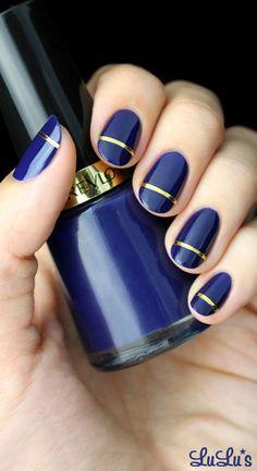 Mani Monday: Indigo Blue and Gold Striped Nail