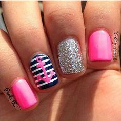 Pink silver glitter blue and white nautical themed nails❤️❤️❤️ anchor nail art, nautical nail art❤️❤️❤️ Anchor Nail Designs, Anchor Nail Art, Nail Art Designs, Fingernail Designs, Nails Design, Nautical Nail Designs, Tropical Nail Designs, Tropical Nail Art, Nail Designs