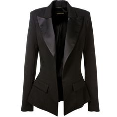 Alexandre Vauthier Satin Finished Black Wool Blazer (7 525 PLN) ❤ liked on Polyvore featuring outerwear, jackets, blazers, wool blazer, wool jacket, alexandre vauthier, black satin jacket and black satin blazer