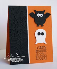 Julie's Stamping Spot -- Stampin' Up! The ghost is the owl punch upside down with the feet cut off  - owl punch to add bat wings to the owl.  retired Bitty Bat Punch- Supplies: Seasonal Sentiments, Pumpkin Pie cardstock,  Black cardstock, Whisper White cardstock, Two-Step Owl Punch, Bitty Bat Punch, Spider Web Embossing Folder