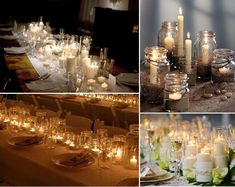 candle centerpieces - cheap and gorgeous for evening weddings