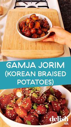 Healthy Korean Recipes, Honey Recipes, Delicious Vegan Recipes, Korean Food, Vegetable Recipes, Asian Recipes, Vegetarian Recipes, Cooking Recipes, Korean Potato Side Dish