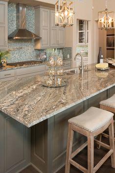 White Cabinets White Countertops, Cost Of Granite Countertops, Grey Kitchen Cabinets, Kitchen Granite Countertops, White Granite Kitchen, Cherry Cabinets, Kitchen Backsplash, Kitchen Cabinet Design, Kitchen Redo