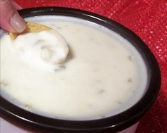 Crock-pot Queso Blanco dip... 3 ingredients and sooo easy!  1 lb white American cheese  1/2 cup milk  2 Tbs pickled jalapeño juice  Cut cheese into chunks, put in crock-pot (the smaller the chunks, the quicker it'll melt). Add milk and jalapeño juice. Simmer until melted.