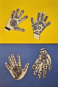 """Multicultural Art Project: """"Henna Hands"""" teaches kids about the use of henna, a traditional art form that has been practiced in India, areas of the Middle east, and parts of Africa for hundreds of years. #artprojects"""