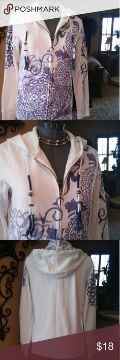 Lucky Brand zip up hoodie size small Lucky Brand zip up hoodie size small in excellent condition super cute in white and bluish purple Lucky Brand Tops Sweatshirts & Hoodies