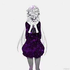 Animated gif uploaded by 𝘮𝘪𝘯𝘯𝘪𝘦 𝘬𝘪𝘵𝘵𝘪𝘦 🌸. Find images and videos about black and white, kawaii and flower on We Heart It - the app to get lost in what you love. Sad Anime, Manga Anime, Anime Art, Anime Galaxy, Galaxy Art, Sketch Inspiration, Beautiful Anime Girl, Manga Girl, Anime Girls