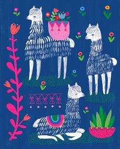 Happy Alpacas by Sarah Walsh van PetitReve op Etsy