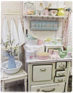 vintage kitchen...pastels...white...home decor