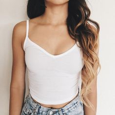 Riley V-Neck Crop Top (White)