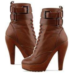 Brown Platform Ankle-High Boots.