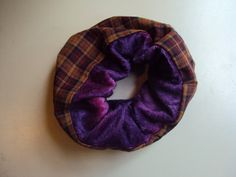 Two toned ScrunchiePanne stretch velvet and Cotton by BandAHeads,