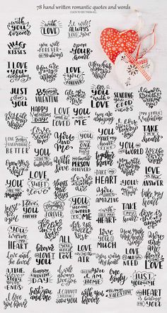 Quotes about love-Lettering Pack.I present to you a Quotes about love.Lettering set includes traditional romantic quotes and words. Calligraphy Quotes Doodles, Doodle Quotes, Calligraphy Handwriting, Hand Lettering Quotes, Handwriting Ideas, Calligraphy Letters, Lettering Design, Valentines Lettering, Hand Drawn Lettering