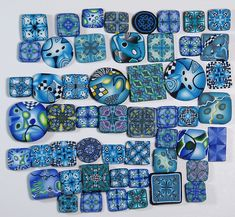 Blue polymer clay cane slices