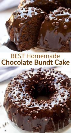 This is an easy and moist chocolate bundt cake recipe Top your homemade chocolate cake with chocolate chips and smother it in chocolate ganache easy fromscratch chocolate recipe cake bundtcake tastesbetterfromscratch via betrfromscratch Moist Chocolate Bundt Cake Recipe, Chocolate Bunt Cake, Triple Chocolate Bundt Cake Recipe, Too Much Chocolate Cake, Easy Chocolate Ganache, Homemade Chocolate Cupcakes, Easy Chocolate Desserts, Chocolate Chocolate, Easy Cake Recipes