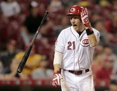 The Enquirer/Sam Greene Reds third baseman Todd Frazier is starting in the 2015 MLB All-Star Game. Here, he flips his bat as his walk-off grand slam sails over the fence during the bottom of the 13th against the Tigers on June 18.