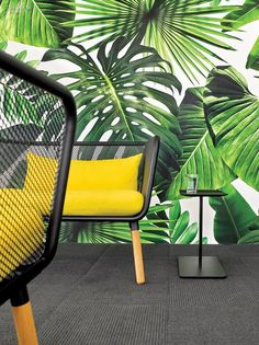 Colorful Office Renovation by Ghislaine Viñas – Design Milk – Office lounge Interior Design Magazine, Office Interior Design, Office Interiors, Interior Tropical, Tropical Home Decor, Tropical Houses, Tropical Furniture, Tropical Colors, Office Fit Out
