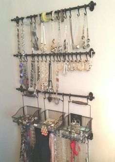 Photo only - Jewelry and scarf organization: Ikea Fintorp rails, hooks, and bask. - Photo only – Jewelry and scarf organization: Ikea Fintorp rails, hooks, and baskets - Ikea Organisation, Scarf Organization, Small Closet Organization, Organization Ideas, Storage Ideas, Easy Storage, Kitchen Organization, Organizing, Diy Jewelry Unique
