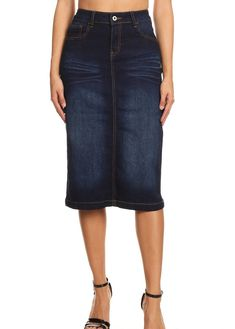 6ac35d8a61 denim skirt Black Denim Midi Skirt, Modest Denim Skirts, Denim Pencil Skirt,  Maxi