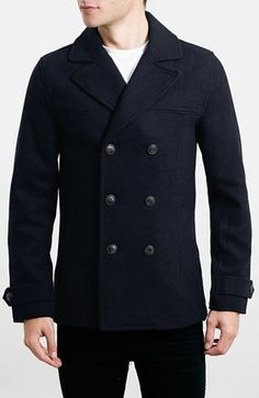6c298972f008 Free shipping and returns on Topman Wool Blend Double Breasted Peacoat at  Nordstrom.com.
