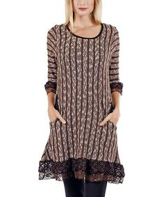 Loving this Brown & Black Stripe Lace-Trim Tunic on #zulily! #zulilyfinds