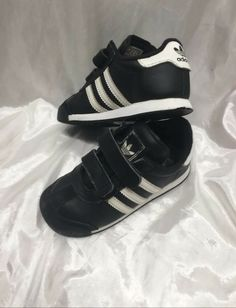 separation shoes 2c3b3 332ae Adidas Black Sneakers with White stripes (Toddler Boy 8.5)  fashion   clothing