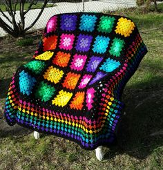 Multicolor Granny Square Throw by ThelmasGifts on Etsy