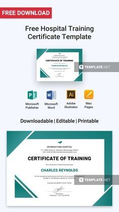 Give credit where credit is due with this modernly designed certificate of training template that can be downloaded for free. Craft your own certificate and recognize those who've completed the hospital training. The template is easy to edit and printable. #certificateformat #certificateTemplate #certificatelayout #certificates #certificate