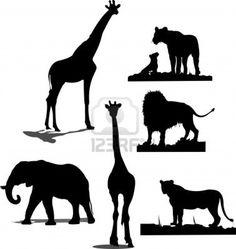 Sagome degli animali africani. Black and white silhouettes Archivio Fotografico - 5456036