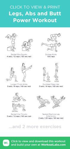 Legs, Abs and Butt Power Workout – click to view and print this illustrated exercise plan created with #WorkoutLabsFit