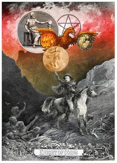 Knight of Coins - Arthur Taussig Collage Tarot