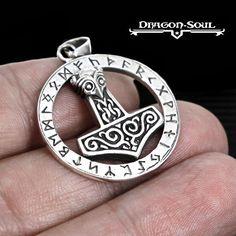 THOR'S RUNE CIRCLE HAMMER MJOLNIR PENDANT - STERLING SILVER- DRAGON SOUL JEWELRY #DragonSoulJewelry