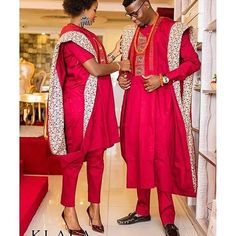 3-piece agbada couple attire. Crimson red men's agbada with ladies design to pair