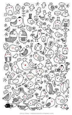 Today we are so lucky to feature Flora Chang of Happy Doodle Land on her creative style journey. Happy Doodles, Cute Doodles, Doodle Lettering, Hand Lettering, Doodle Drawings, Easy Drawings, Zentangle, Bird Doodle, Animal Doodles